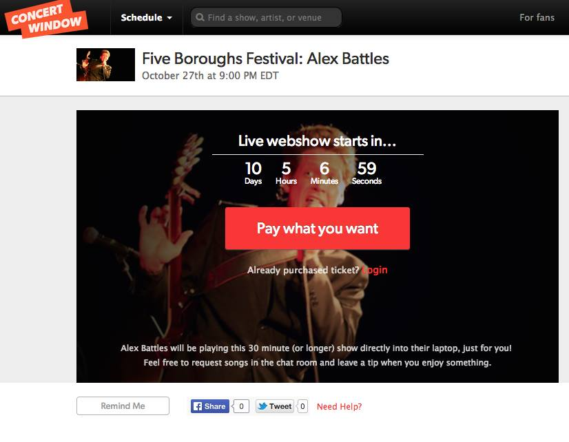 Log in to Concert Window Monday night to watch Alex Battles play live