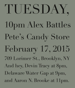 Alex Battles plays Pete's Candy Store on February 17, 2015.