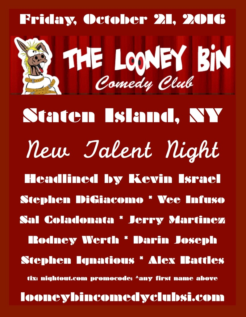 New Talent Night at The Looney Bin, October 21, 2016