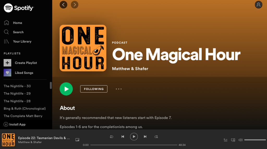 Listening to the One Magical Hour Podcast on Spotify